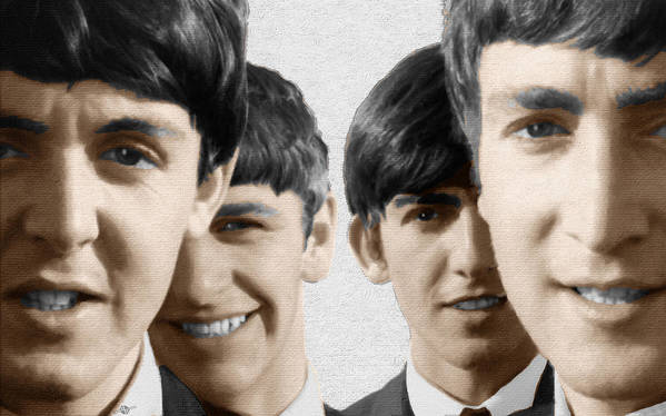 The Beatles Poster featuring the painting The Beatles Painting 1963 Color by Tony Rubino