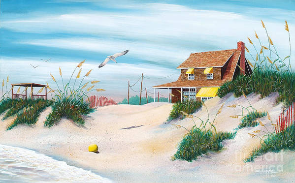 Beach Poster featuring the painting Yellow Beach Ball by Hugh Harris