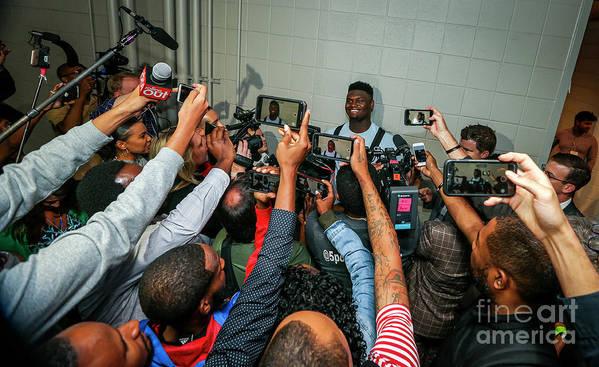 Atlanta Poster featuring the photograph New Orleans Pelicans V Atlanta Hawks by Layne Murdoch Jr.