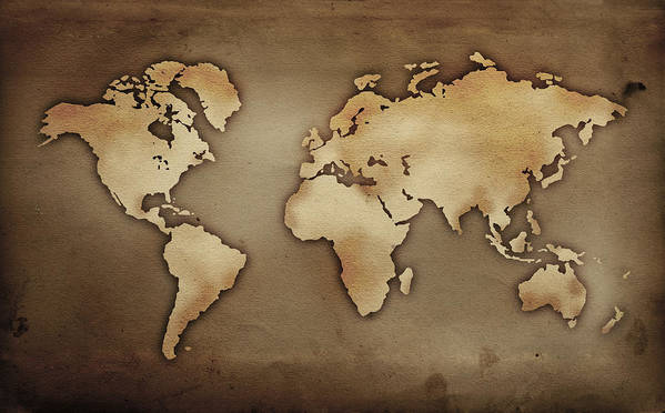 Close Up Of Antique World Map Poster By Tetra Images
