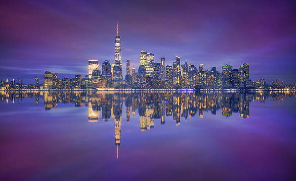 Night Poster featuring the photograph Skyline From Nj by Carlos F. Turienzo