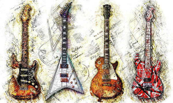 Guitar Poster featuring the digital art The Usual Suspects by Gary Bodnar