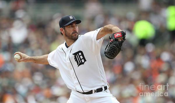 Second Inning Poster featuring the photograph Justin Verlander by Leon Halip