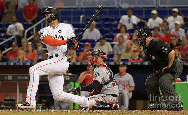 People Poster featuring the photograph Giancarlo Stanton by Mike Ehrmann
