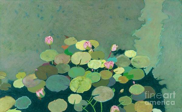 Landscape Poster featuring the painting Bettys Serenity Pond by Allan P Friedlander