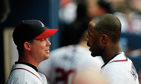 Atlanta Poster featuring the photograph Chipper Jones and Jason Heyward by Kevin C. Cox