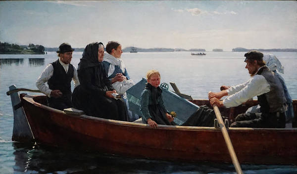 Finnish Art Poster featuring the painting Conveying the Childs Coffin by Albert Edelfelt