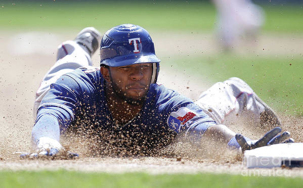 American League Baseball Poster featuring the photograph Elvis Andrus by Gregory Shamus