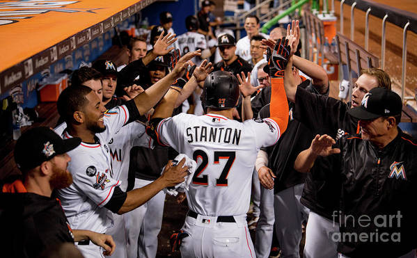 People Poster featuring the photograph Giancarlo Stanton by Rob Foldy/miami Marlins