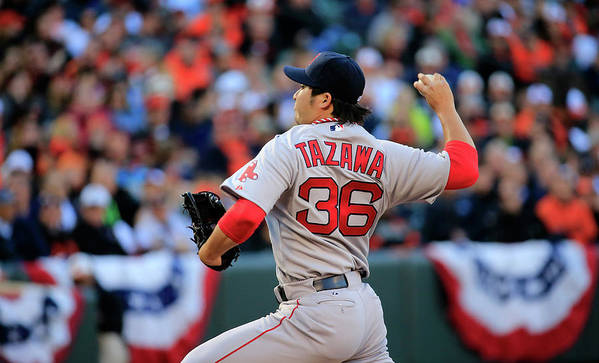 American League Baseball Poster featuring the photograph Junichi Tazawa by Rob Carr