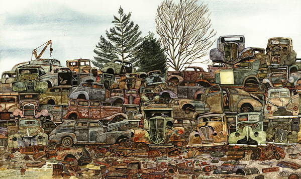 Old Cars Poster featuring the painting Junkyard No.1 by Ron Morrison