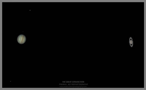 Poster featuring the photograph The Great Conjunction of Jupiter and Saturn by Prabhu Astrophotography