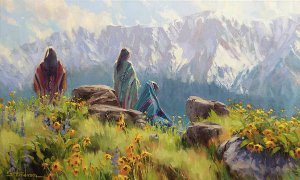 Nez Perce Poster featuring the painting This Was Our Shangri-La by Steve Henderson