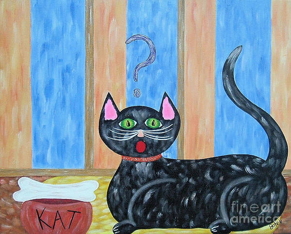 Cat Poster featuring the painting Cat and Bone by JoNeL Art