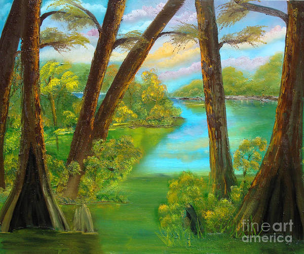 Cypress Poster featuring the painting cypress Hidout by Darlene Green