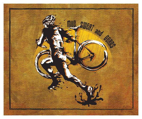 Cyclocross Illustration Poster featuring the painting Mud Sweat And Gears by Sassan Filsoof