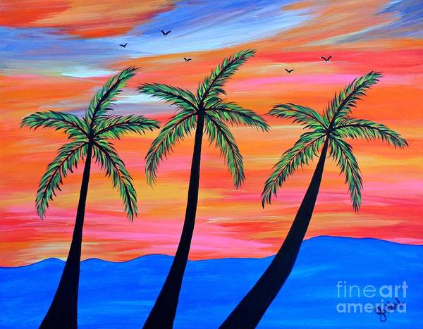 Palm Poster featuring the painting Sunset Palms by JoNeL Art