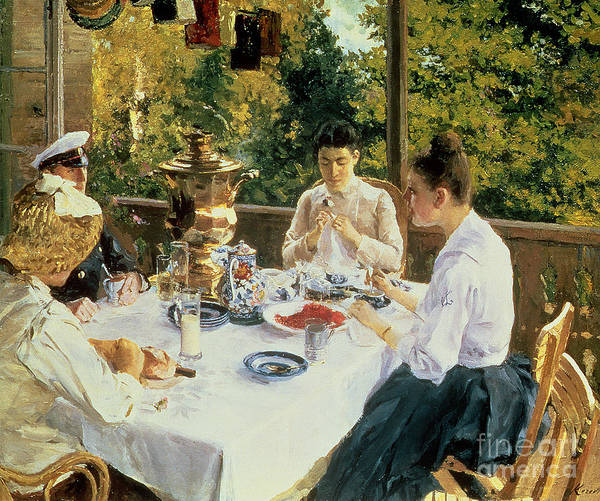 The Poster featuring the painting At the Tea-Table by Konstantin Alekseevich Korovin