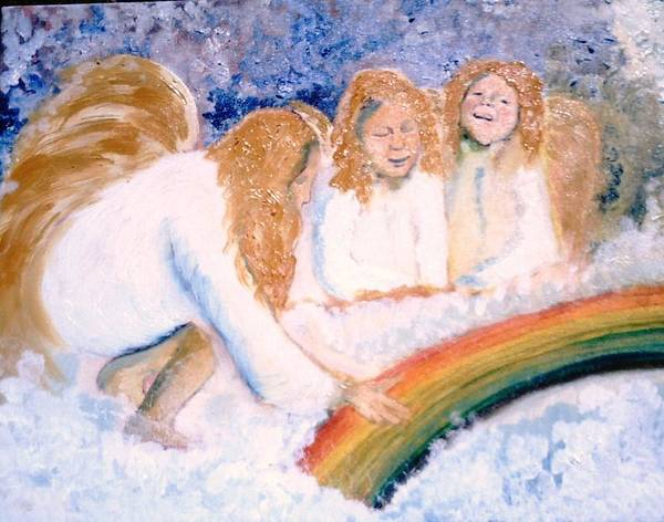 Rainbow Poster featuring the painting Catching Rainbows by J Bauer