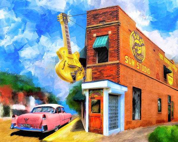 Sun Studio Poster featuring the mixed media Legendary Sun Studio by Mark Tisdale