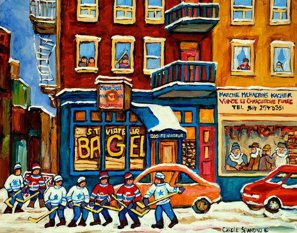 St.viateur Bagel Poster featuring the painting St.viateur Bagel Hockey Montreal by Carole Spandau