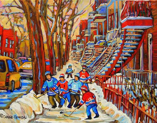 Poster featuring the painting The Red Staircase Painting By Montreal Streetscene Artist Carole Spandau by Carole Spandau