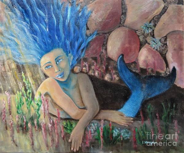 Mermaid Poster featuring the painting Underwater Wondering by Laurie Morgan