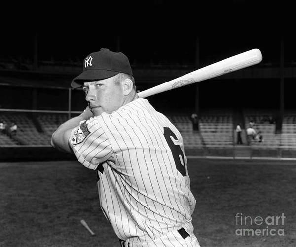 American League Baseball Poster featuring the photograph Mickey Mantle by Kidwiler Collection