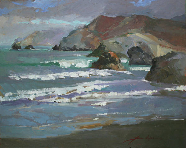 Seascape Poster featuring the painting Morning Fog Shark Harbor - Catalina Island by Betty Jean Billups
