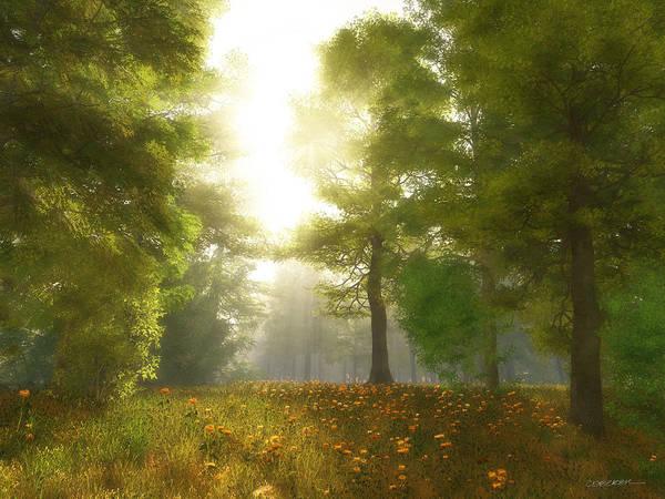 Meadow Poster featuring the digital art Sunlit Meadow by Cynthia Decker
