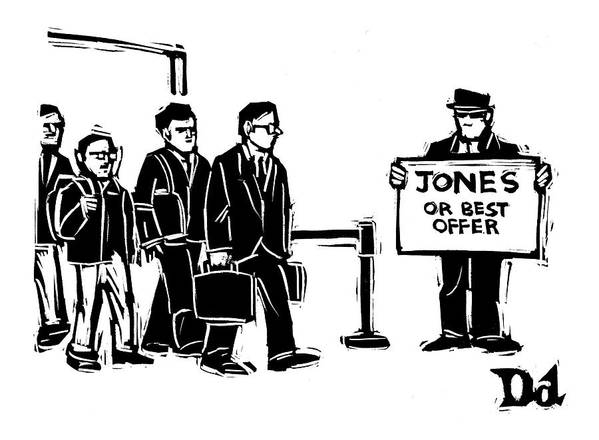 Word Play Travel  (arriving Airline Passengers Find Limo Driver With A Sign That Reads Poster featuring the drawing New Yorker June 6th, 2005 by Drew Dernavich