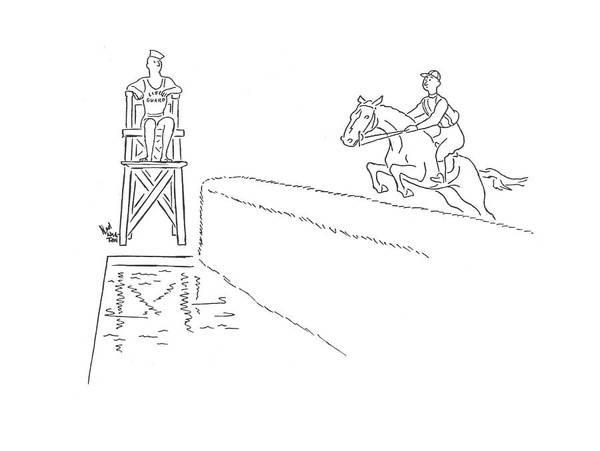 111358 Nhi Ned Hilton Life Guard By Steeplechase Moat. Animal Animals Guard Guarding Horse Horses Jockey Jump Jumping Life Moat Race Racing Safety Show Showing Steeplechase Water Poster featuring the drawing New Yorker August 23rd, 1941 by Ned Hilton