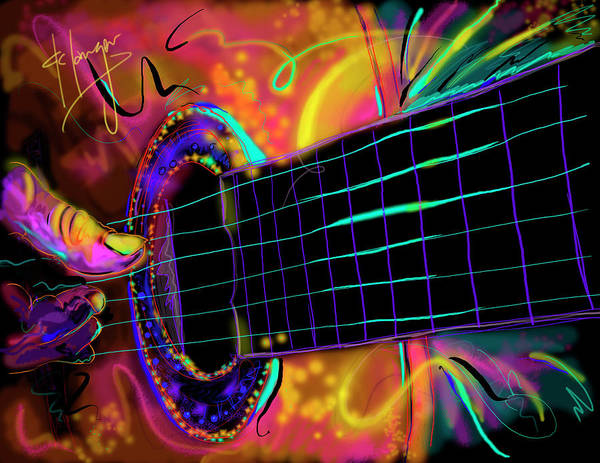 Guitar Poster featuring the painting Medianoche by DC Langer