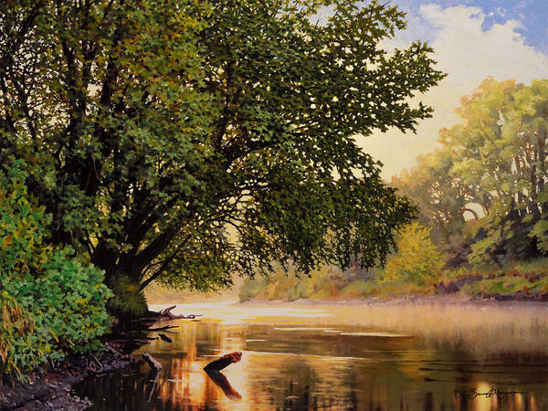 Landscape Poster featuring the painting September Dawn, Little Sioux River - studio painting by Bruce Morrison
