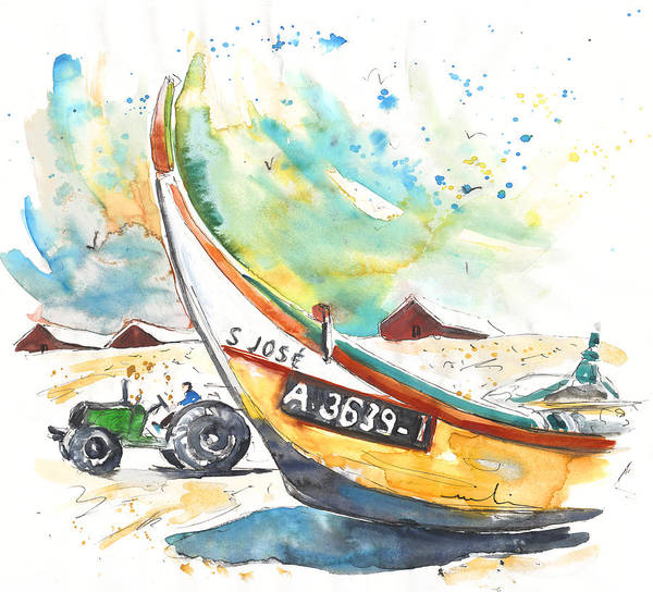 Portugal Poster featuring the painting Fisherboat in Praia de Mira by Miki De Goodaboom