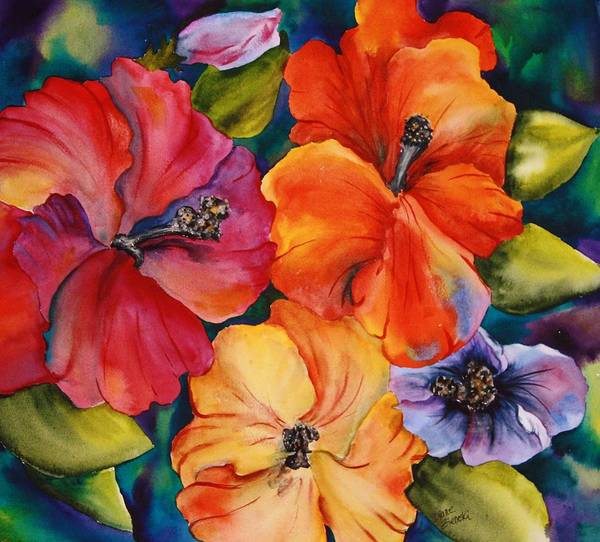 Floral Poster featuring the painting Hibiscus mini by Diane Ziemski