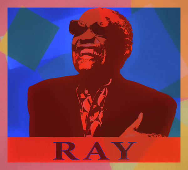 Ray Charles Pop Art Poster Poster featuring the mixed media Color Pop Art Tribute To Ray Charles by Dan Sproul