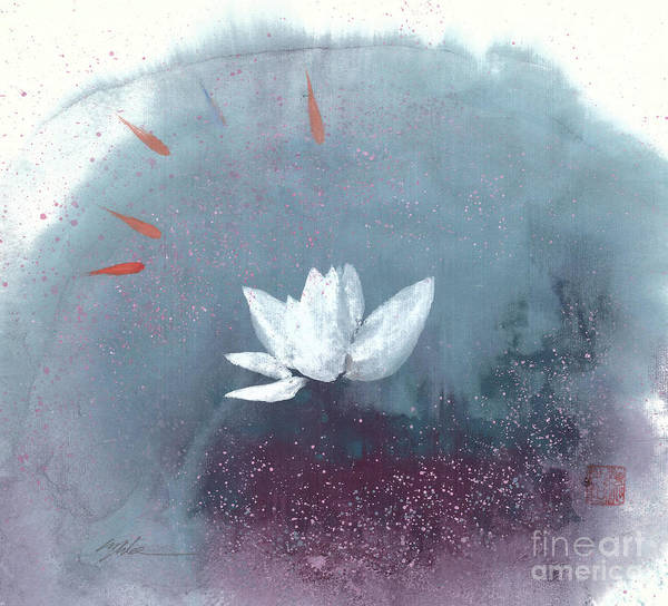 A Brilliant Lotus In A Pond With Delightful Fish. It's A Simple Chinese Brush Painting On Rice Paper. Poster featuring the painting White Lotus IV by Mui-Joo Wee