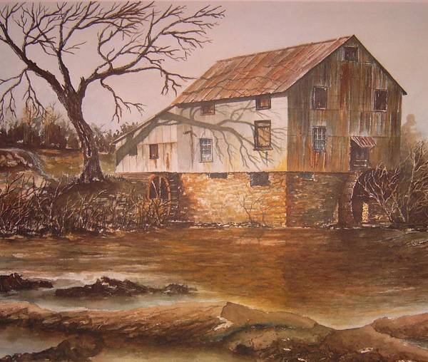 Landscape Poster featuring the painting Anderson Mill by Ben Kiger