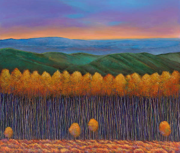 Autumn Aspen Poster featuring the painting Aspen Perspective by Johnathan Harris