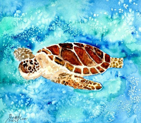 Sea Turtle Poster featuring the painting Sea Turtle by Derek Mccrea