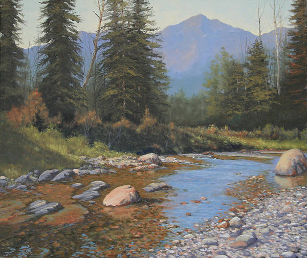 Landscape Poster featuring the painting 080323-2420 Tranquility by Kenneth Shanika
