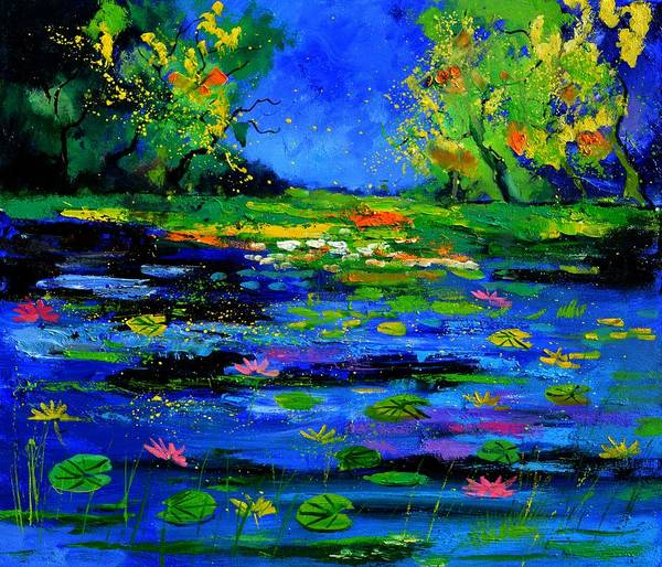 Landscape Poster featuring the painting Magic pond 765170 by Pol Ledent