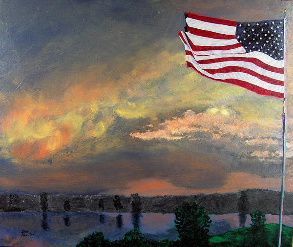 Flag Poster featuring the painting 9 11 2001 by Stan Hamilton