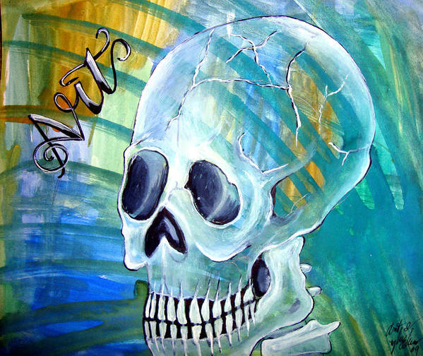 Skull Poster featuring the painting ArtLeigh IV by Leigh Odom