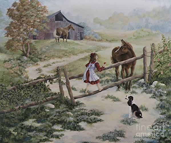 Farm Poster featuring the painting At the Farm by Kathleen Keller