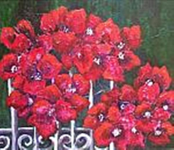 Poster featuring the painting Bounganvillia on Fence by Carol P Kingsley