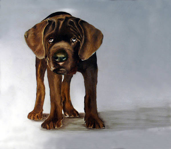 Poster featuring the painting Chocolate Labrador Puppy by Dick Larsen
