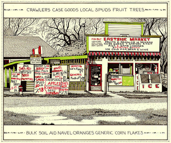 Country Market Poster featuring the painting Eastside Market by Chholing Taha