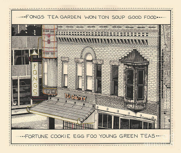 Pen And Ink Poster featuring the drawing Fongs Tea Garden by Chholing Taha